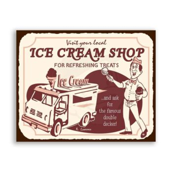 Ice Cream Shop Vintage Metal Art Ice Cream Shop Retro Tin Sign