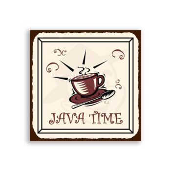 Java Time Vintage Metal Art Coffee Shop Diner Retro Tin Sign