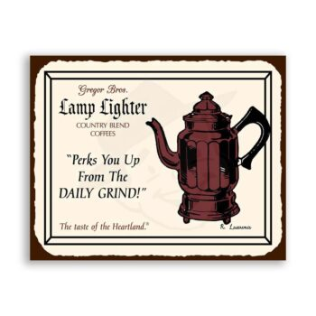 Perks You Up Lamplighter Vintage Metal Coffee Diner Retro Tin Sign