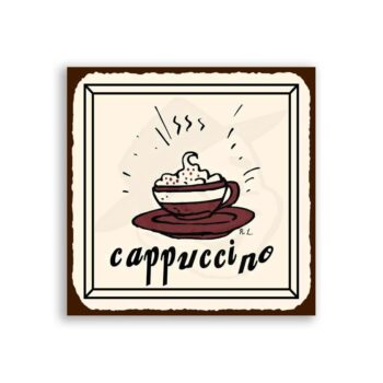 Cappuccino Vintage Metal Art Coffee Shop Diner Retro Tin Sign