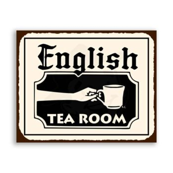 English Tea Room Vintage Metal Art Coffee Shop Diner Retro Tin Sign