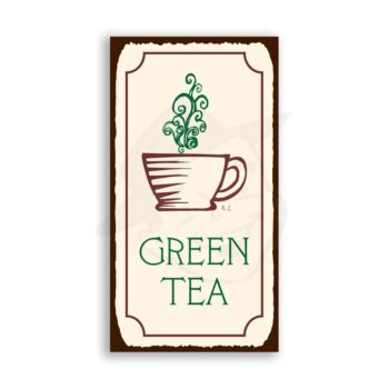 Green Tea Vintage Metal Art Coffee Shop Diner Retro Tin Sign