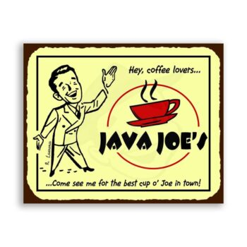Java Joes Vintage Metal Art Coffee Shop Diner Retro Tin Sign