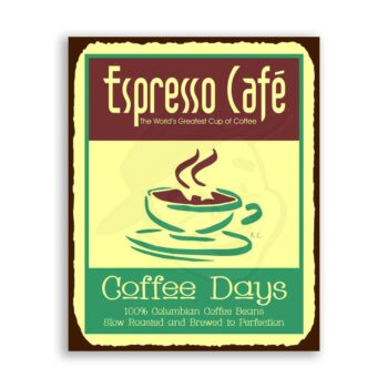 Espresso Cafe Vintage Metal Art Coffee Shop Diner Retro Tin Sign