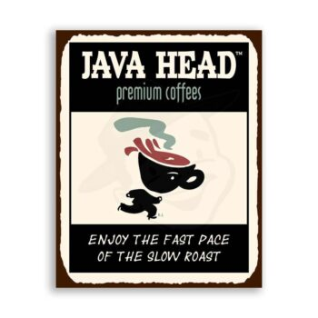 Java Head Coffee Vintage Metal Art Coffee Shop Diner Retro Tin Sign