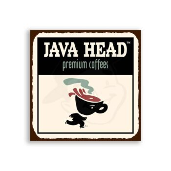 Java Head Small Vintage Metal Art Coffee Shop Diner Retro Tin Sign