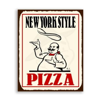 New York Pizza Vintage Metal Art Italian Pizzeria Retro Tin Sign