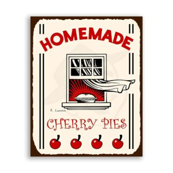 Homemade Cherry Pies Vintage Metal Art Retro Tin Sign