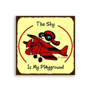 Sky Is My Playground Vintage Aviation Airplane Retro Tin Sign