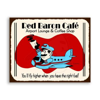 Red Baron Flying Pilot Cafe Vintage Aviation Airplane Retro Tin Sign