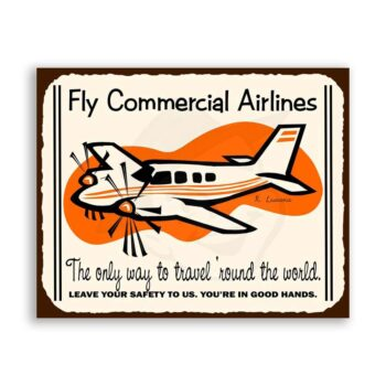 Commercial Airlines Vintage Metal  Airplane Aviation Retro Tin Sign