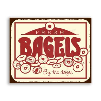 Fresh Bagels Vintage Metal Art Retro Tin Sign