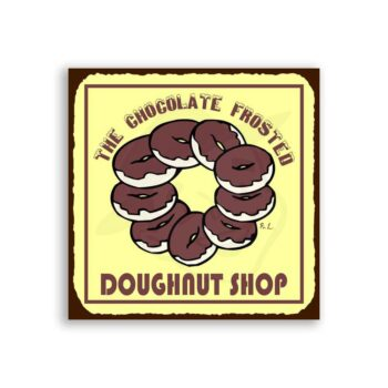 Chocolate Frosted Doughnut Shop Vintage Metal Art Bakery  Tin Sign