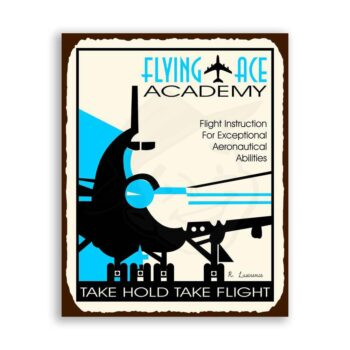 Flying Ace Academy Vintage Metal Art Aviation Airplane Retro Tin Sign