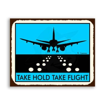 Runway Blue Vintage Metal Art Aviation Airplane Retro Tin Sign