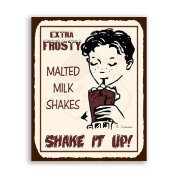 Malted Milk Shakes Vintage Diner Retro Tin Sign