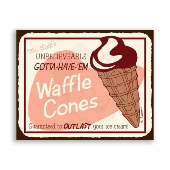 Waffle Cones Vintage Metal Art Ice Cream Shop Retro Tin Sign