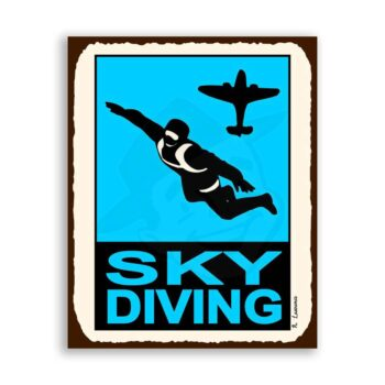 Sky Diving Vintage Metal Art Aviation Airplane Retro Tin Sign