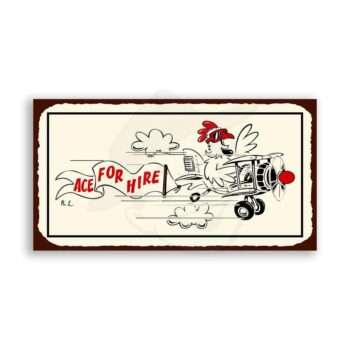 Ace For Hire Vintage Metal Art Aviation Airplane Retro Tin Sign