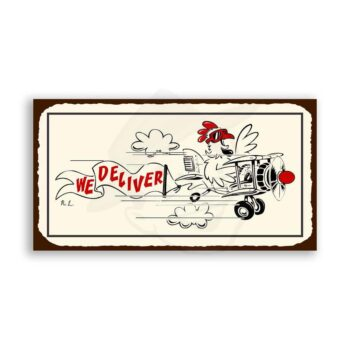 We Deliver Chicken Vintage Metal Art Aviation Airplane Retro Tin
