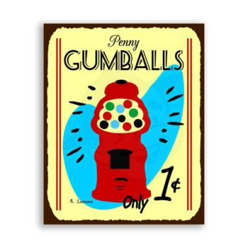 Penny Gumballs Vintage Metal Art Candy Retro Tin Sign