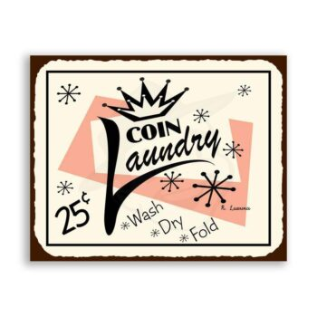Coin Laundry Vintage Metal Art Laundry Cleaning Retro Tin Sign
