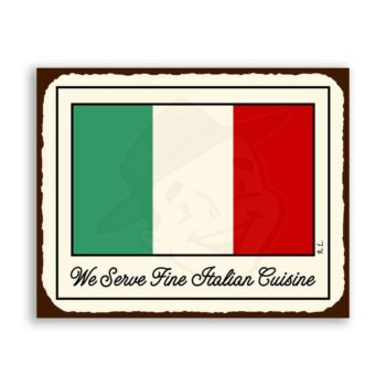 Italian Flag Vintage Metal Art Italian Pizzeria Retro Tin Sign