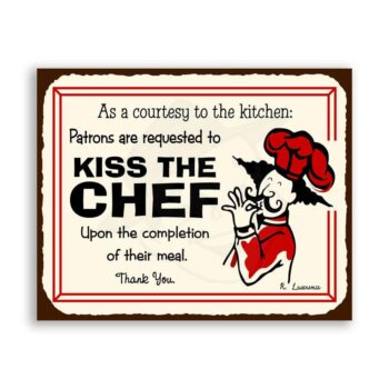 Kiss The Chef Vintage Metal Art Restaurant Service Retro Tin Sign