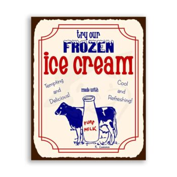 Try Our Frozen Ice Cream Vintage Metal Art Parlor Retro Tin Sign