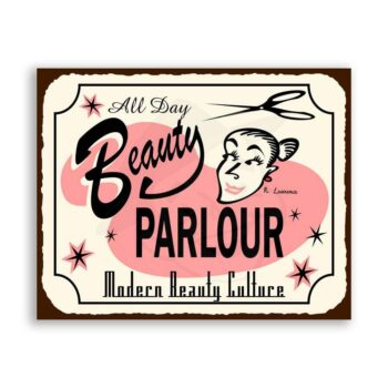 Beauty Parlor All Day Vintage Metal Art Barber Salon Retro Tin Sign