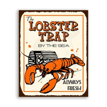Lobster Trap Vintage Metal Art Beach Seafood Retro Tin Sign
