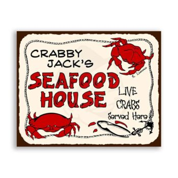 Crabby Jacks Live Crabs Sold Here Vintage Metal Art Retro Tin Sign