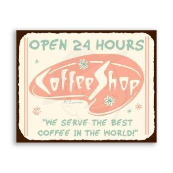 Coffee Shop Diner Vintage Metal Art Coffee House Retro Tin Sign