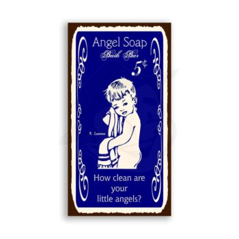 Angel Soap Vintage Metal Art Laundry Cleaning Bath Retro Tin Sign