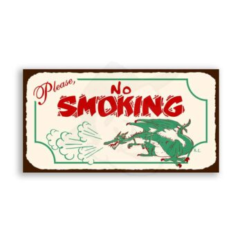 No Smoking Dragon Vintage Metal Restaurant Service Retro Tin Sign