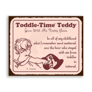 Toddle Time Teddy Bear Vintage Metal Art Childrens Retro Tin Sign