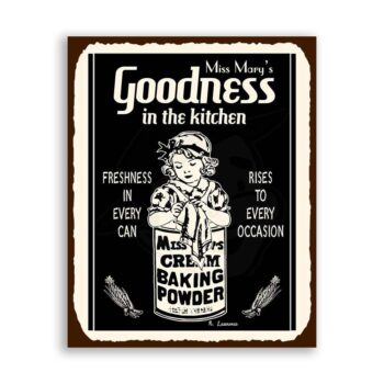Miss Marys Baking Powder Vintage Metal Art Kitchen Retro Tin Sign