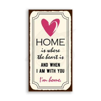 Home is Where the Heart is Vintage Metal Art Kitchen Retro Tin Sign