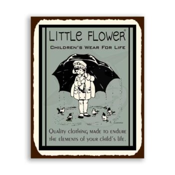Little Flower Clothing Vintage Metal Childrens Sewing Retro Tin Sign