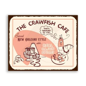 Crawfish Cafe Vintage Metal Art Beach Seafood Diner Retro Tin Sign