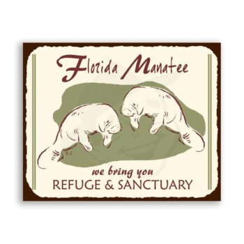 Florida Manatee  Vintage Metal Art Florida Retro Tin Sign