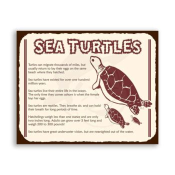 Sea Turtles Vintage Metal Beach Retro Tin Sign