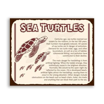 Sea Turtles Extinction Vintage Metal Beach Retro Tin Sign