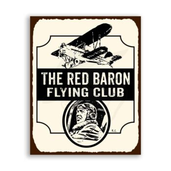 Red Baron Flying Club Vintage Metal Airplane Aviation Retro Tin Sign
