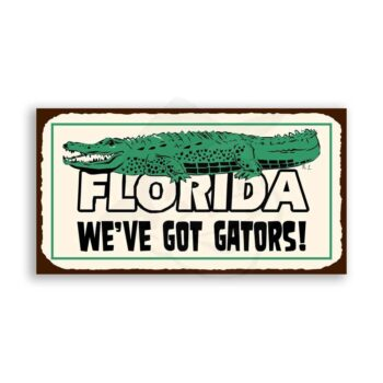 Florida Gators Alligator Vintage Metal Art Florida Retro Tin Sign