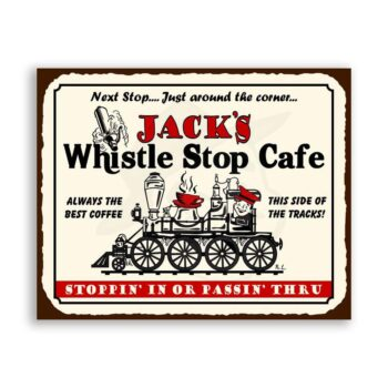 Jacks Whistle Stop Cafe Vintage Metal Train Coffee Shop Diner Sign