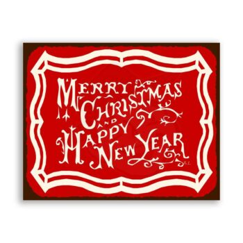 Merry Christmas Happy New Year Vintage Holiday Retro Tin Sign