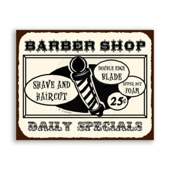 Barber Shop Shave Haircut Daily Specials Vintage Barber Retro Tin Sign