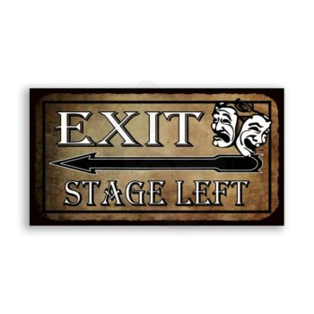 Exit Stage Left Comedy Tragedy Masks Vintage Metal Theater Tin Sign