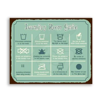 Laundry Room Guide to Symbols Meaning Vintage Metal Art Laundry Room Sign